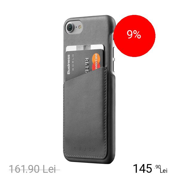MUJJO Husa Capac Spate Wallet Piele Gri Apple iPhone 7, iPhone 8