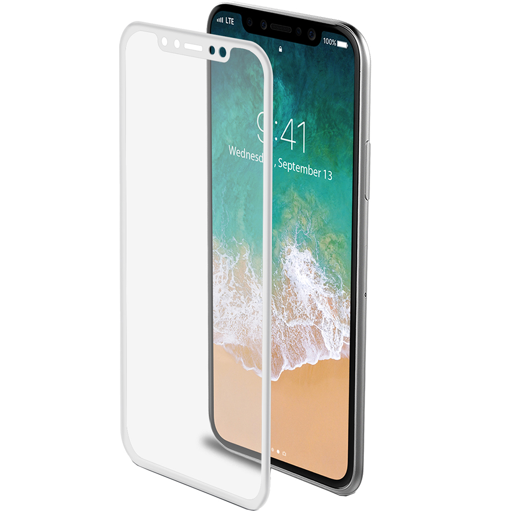 Celly Sticla Securizata Full Body 3D Curved Alb APPLE iPhone X