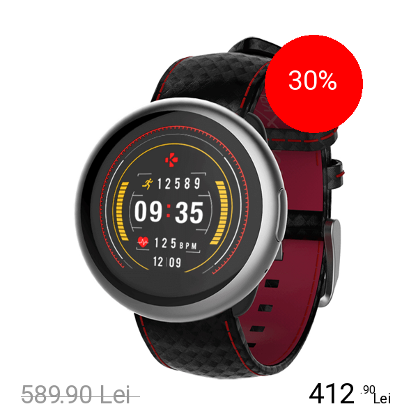 Mykronoz Smartwatch ZeRound 2 HR Premium Argintiu Si Curea Carbon Neagra