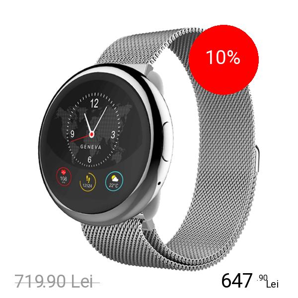 Mykronoz Smartwatch ZeRound 2 HR Elite Argintiu Milanese
