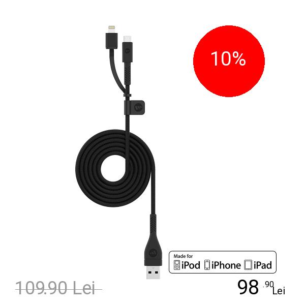 Mophie Cablu Date Switch-Tip Lightning 1.2M MFI Negru