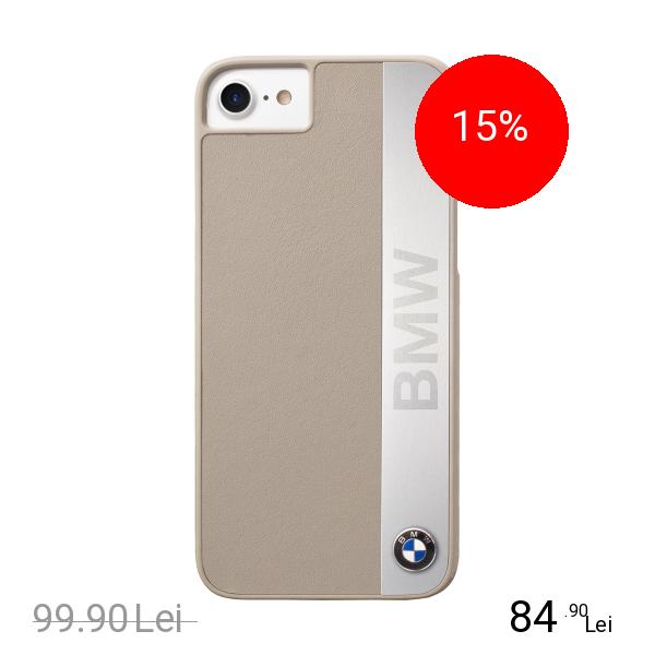Bmw Husa Capac Spate Piele Gri Apple iPhone 7, iPhone 8