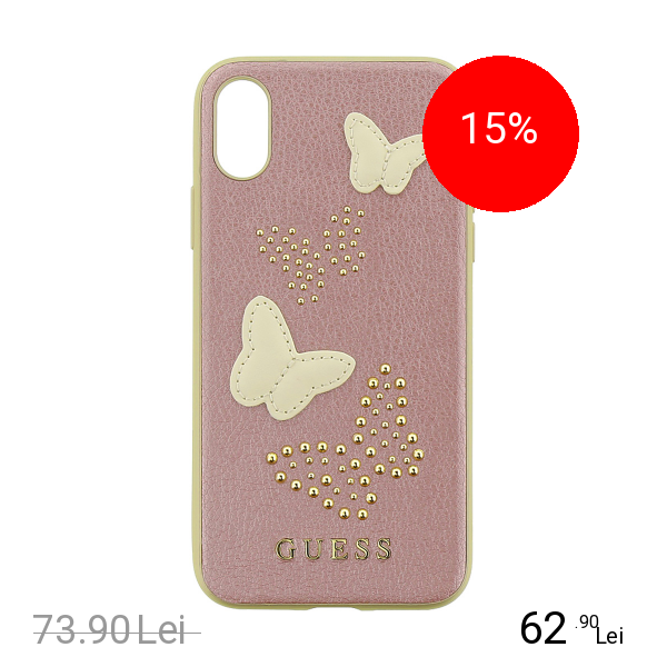 Guess Husa Capac Spate Piele Studs&Sparles Butterflies Roz APPLE iPhone X