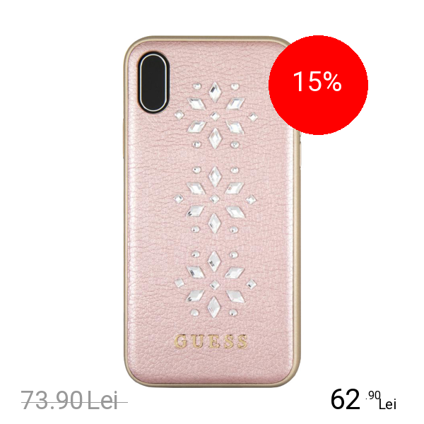 Guess Husa Capac Spate Piele Studs&Sparles Snow Flakes Roz APPLE iPhone X