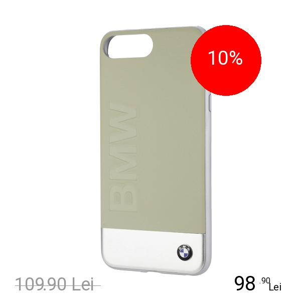 Bmw Husa Capac Spate Geniune Piele Bej Apple iPhone 7 Plus, iPhone 8 Plus