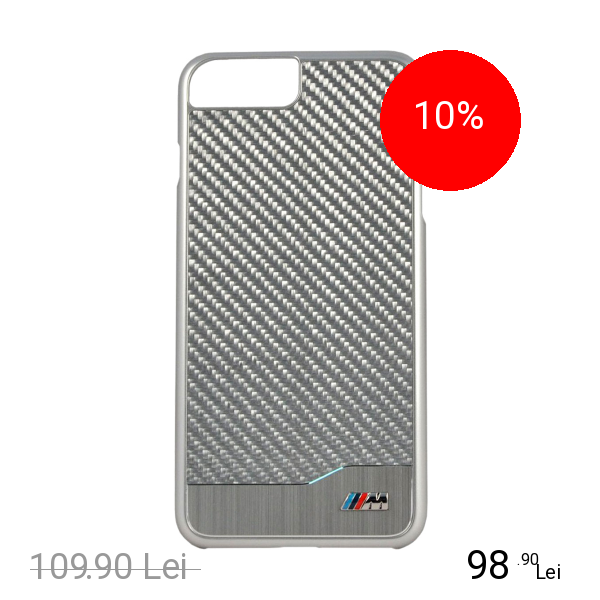 Bmw Husa Capac Spate Carbon Argintiu Apple iPhone 7 Plus, iPhone 8 Plus
