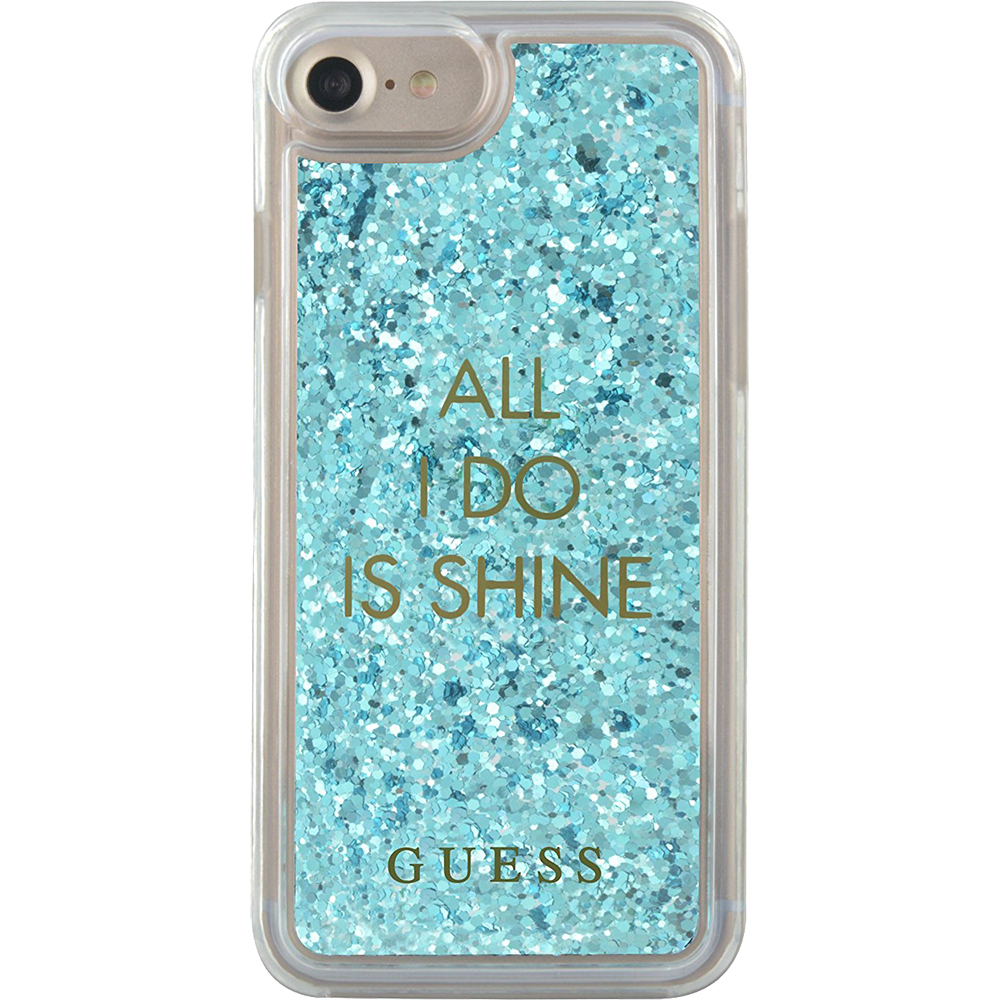 Guess Husa Capac Spate Liquid Glitter Shine Albastru Apple iPhone 7, iPhone 8
