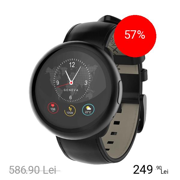 Mykronoz Smartwatch ZeRound 2 HR Premium Negru Si Curea Piele Neagra