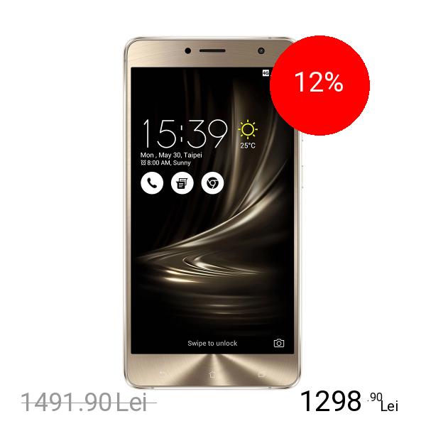 Asus Zenfone 3 Deluxe Dual Sim 64GB LTE 4G Auriu + Bratara Fitness Nabu X 4GB RAM