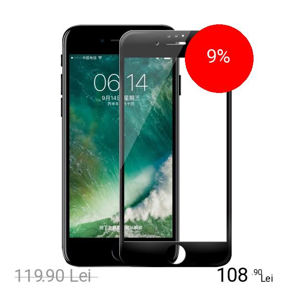 ZMEURINO Sticla Securizata Full Body 3 D Curved Negru Apple iPhone 7, iPhone 8