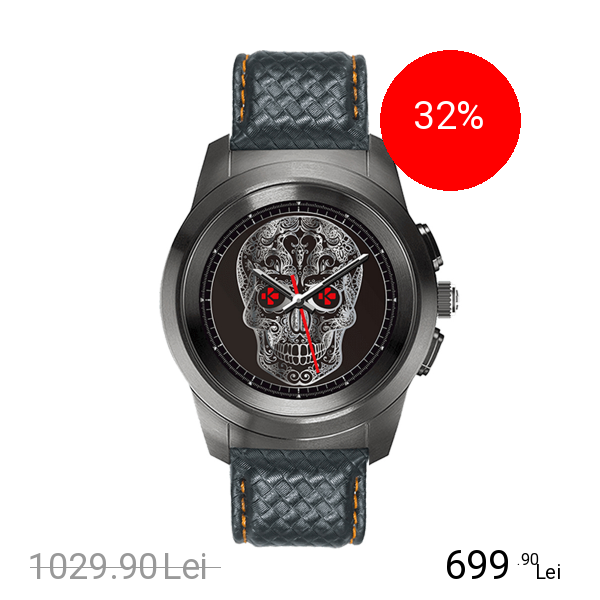 Mykronoz Smartwatch ZeTime Premium Negru Brushed Si Curea Piele Carbon Negru Portocaliu