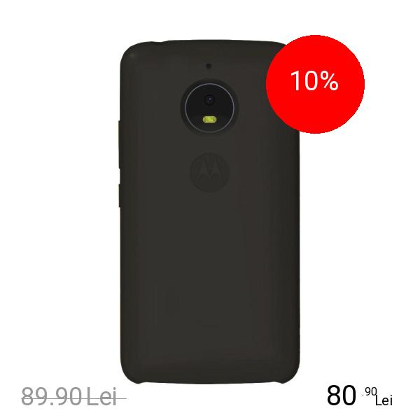 Motorola Husa Capac Spate Silicon + Folie De Protectie Gri MOTOROLA Moto E4 Plus