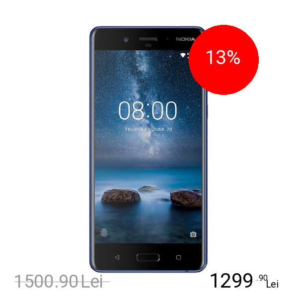 Nokia 8 Dual Sim 64GB LTE 4G Albastru Lucios 4GB RAM