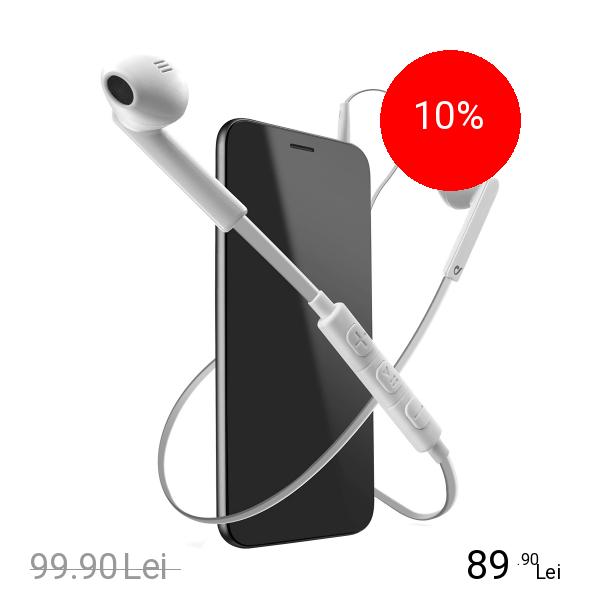 Cellularline Casti Audio Cu Microfon Alb
