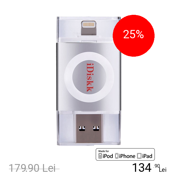 iDiskk Stick USB 16GB U003 USB 3.0, MFI Argintiu