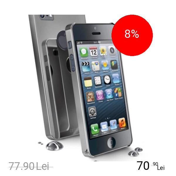 Cellularline Husa Capac spate Chrome+Folie Oglinda Gri APPLE iPhone 5s, iPhone SE