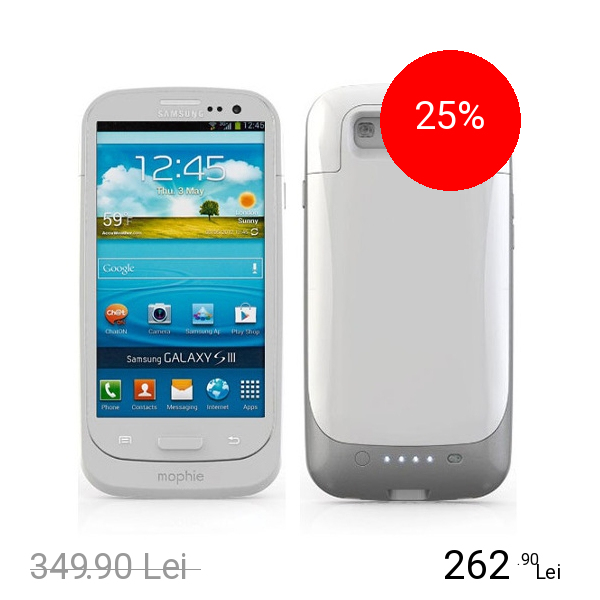 Mophie Baterie Externa + Husa 2300 mAh Juice Pack SAMSUNG Galaxy S3