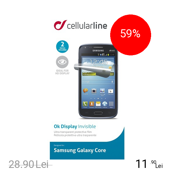 Cellularline Folie De Protectie Transparenta SAMSUNG Galaxy Core Duo Alb