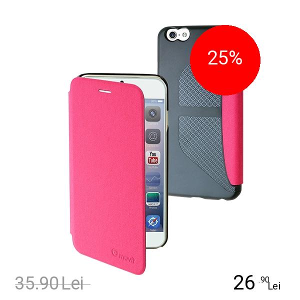 Muvit Husa Agenda Denim Roz APPLE iPhone 6, iPhone 6S
