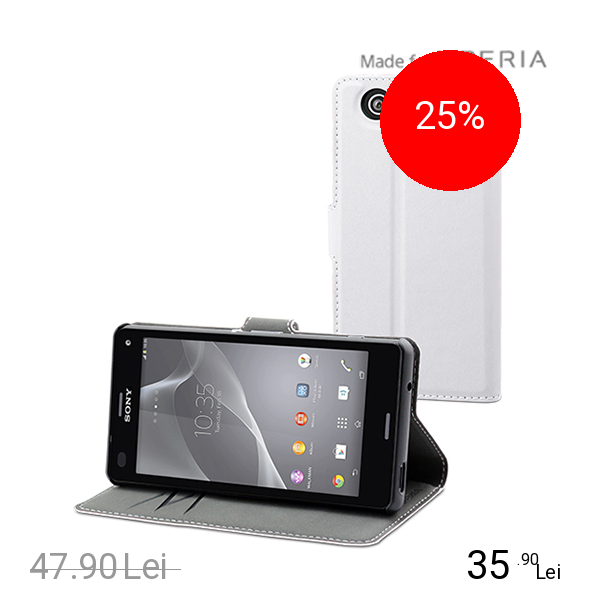 Muvit Husa Agenda MFX Wallet Alb SONY Xperia Z3 Compact